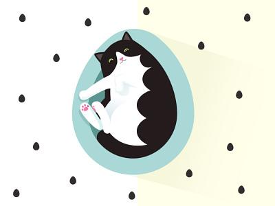 Cat easter basket feline bed pet happy print card illustrator illustration basket egg easter egg easter cat