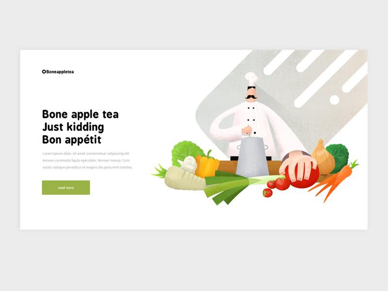 Landingpage website cuisine cooking spatula web illustration appetite bone landingpagedesign header landingpage webdesign chef