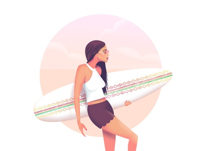 Surfgirl surf pink sunglasses shades sunsets sunset beach sea ocean illustrator model pose fashion illustration woman girl surfgirl surfboard illustration