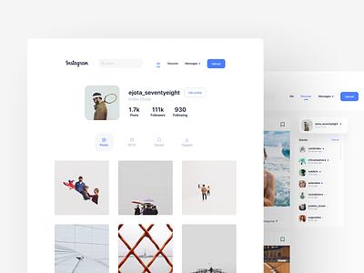 Instagram Redesign Concept minimal website design app grid graphic photo instagram web design web flat app design app ux user interface user experience ui product design ixda design