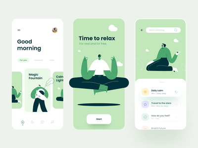 Meditation Mobile App green illustration ux user interface user experience ui product design ixda design app design mobile menu mobile app mobile minimal menu yoga meditation clean card app