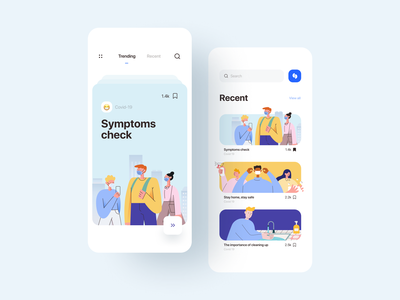 Health News App navigation minimalist healthcare inspiration covid illustration card news health minimal flat app design app ux user interface user experience ui product design ixda design