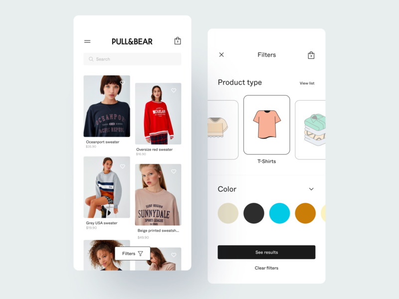E-commerce App Concept minimalist gallery illustration ecommerce design ecommerce app filters shop ecommerce fashion minimal flat app design app ux user interface user experience ui product design ixda design