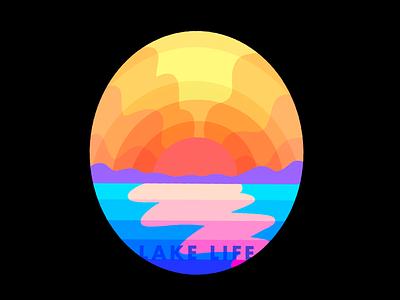 Lake Life sunset gradient neon graphic design illustration design procreate