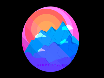 Slope Style series scenery mountains designer graphic design procreate illustration