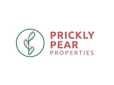 Prickly Pear Properties print logo design icon typography branding vector graphic design procreate prickly pear cactus illustration
