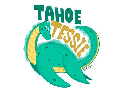 Tahoe Tessie illustrate procreate nessy graphic illustration dino monster lake tahoe tahoe