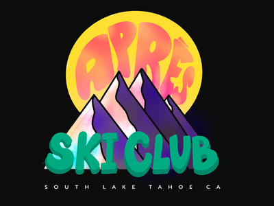 Aprés Ski Club south lake tahoe retro colorful illustrator mountains procreate illustrate apres ski lake tahoe ski