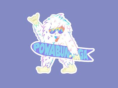 Powabunga Yetti yetti character design snow snowboard sticker design stickers apres illustrate heyhaygoods lake tahoe mountains procreate graphic design design illustration abominable snowman yeti