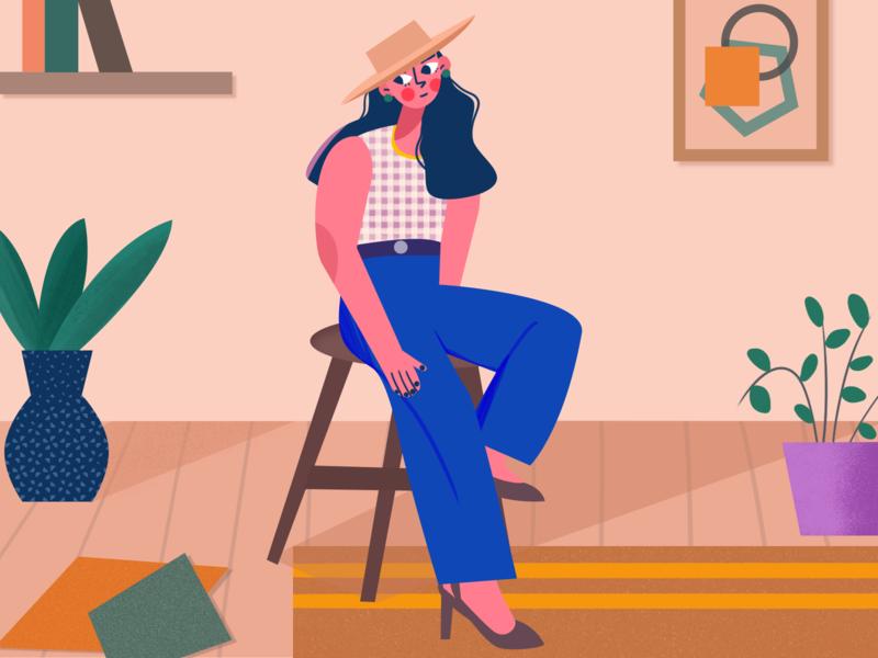 A fashion girl plants fashion girl character ui character illustrator illustration