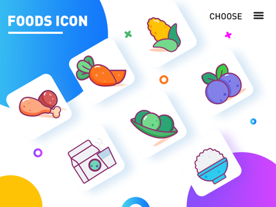 some food icons 2d character flat ui illustration icons set food icons icons vector