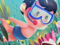 潜水  小男孩