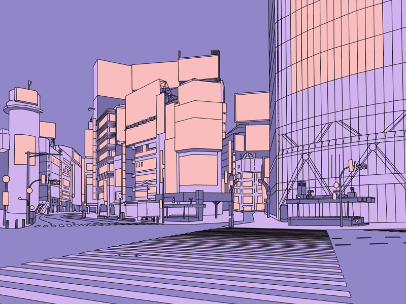 Shibuya Crossing outrun cityscape travel line art lineart shibuya tokyo japan design illustration