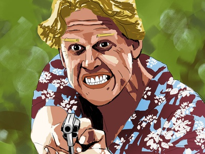 Gary Fucking Busey illustration painting portrait gary busey point break