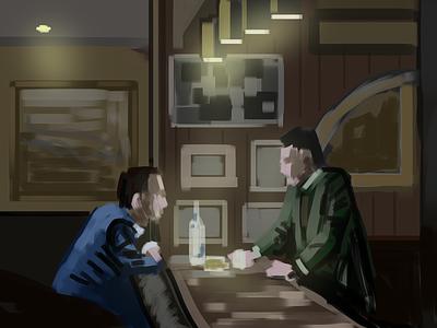 45 min study - The Irishman minimal brushes design illustration painting study the irishman
