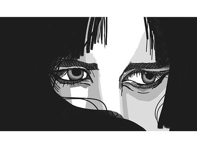 30 min study - eyes design hair girl illustration painting study eyes