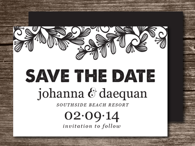 Doodle Swirl Leaves Save the Date swirl doodle leaves patterned blackwhite save the date simple wedding design marriage typeface invitation