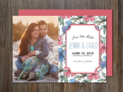 Photo Save the Date Invitation - hand painted flower watercolor painting hand painted flower photo save the date wedding save the date invitation template creativemarket design flowers patterned aticnomar