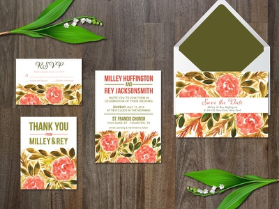 Watercolor flower wedding suite invitation thank you card digital download rsvp card save the date wedding invitation botanical painting hand painted flowers
