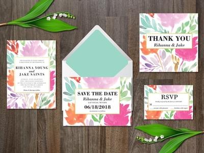 Watercolor flower wedding suite invitation template