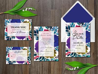 Watercolor Flowers Wedding Suite wedding design templates design elegant invitation digital download template non photo invitation watercolor botanical patterned wedding invitation