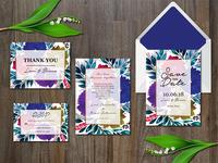 Watercolor Flowers Wedding Suite
