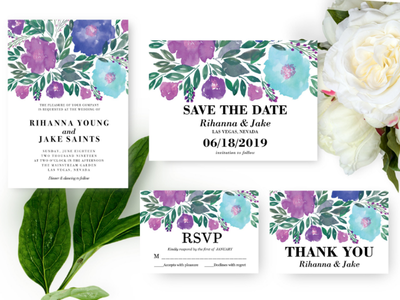 Wedding Invitation floral thank you card rsvp save the date invitation marriage design painting watercolor hand painted flowers wedding invitation
