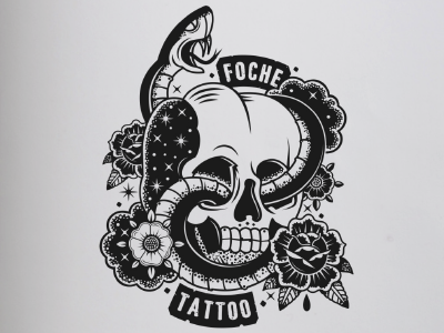 Foche Tattoo rose logon tattoologo tattoostudio tattoo brand snake skull illustration illustrator graphicdesign logo