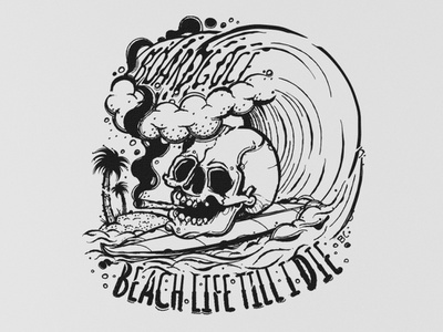 Skull grapgic design inspiration art fashion creative dreaw island palm clothes wave vector character design illustrator graphicdesign illistration surf ocean beach skull