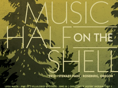 Music on the Half Shell pacific northwest typography green music texture gradient print poster