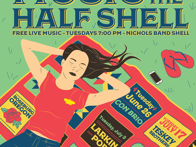 Music on the Half Shell 2018 type color quilt vector illustration 2018 oregon concert music