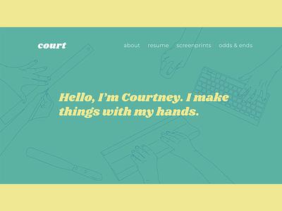 CourtneyHendricks.com yellow minimal portfolio design work hands green vector website illustration