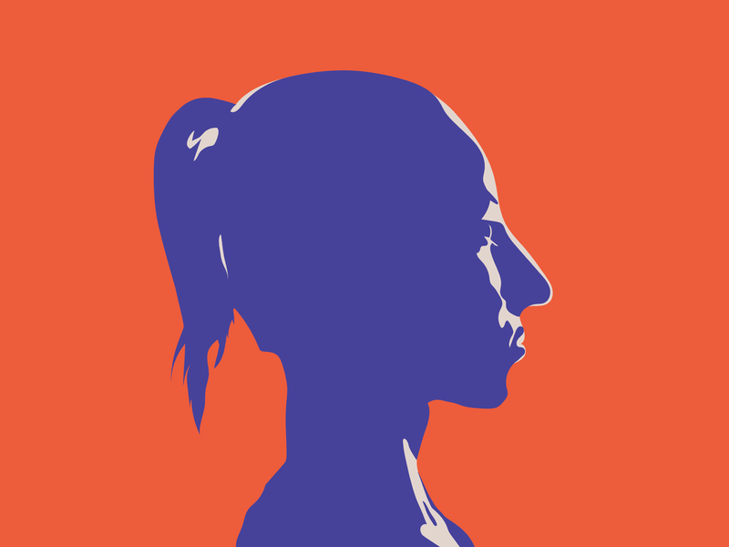 Grrrrrl cut out silhoutte female bright simple graphic design art illustration vector girl