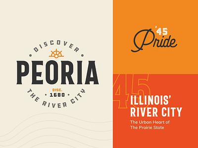 Discover Peoria vintage typography logo visual identity branding illinois peoria