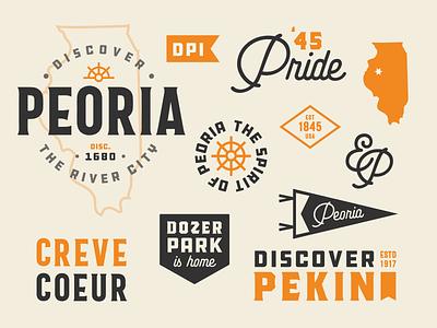 Discover Peoria Typographic Elements brand icon badge vintage visual identity branding typographic typography