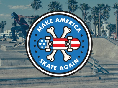 Make America Skate Again shirt flat badge skateboard blue white red skateboarding skate drumpf trump america