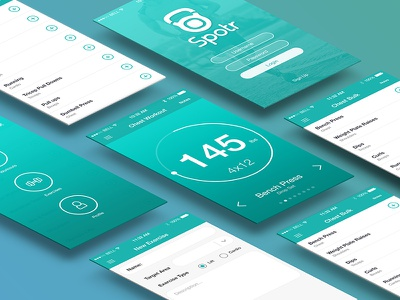 Fitness App Layout icons teal blue workout fitness app