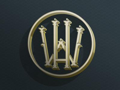 Art Deco Monogram art deco w h type blue gold monogram