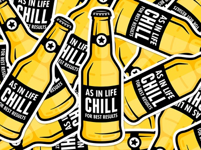 Chill for best results. brew bottle yellow chill sticker beer