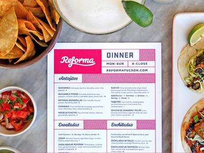 Reforma mexican food salsa tacos pink menu tucson reforma