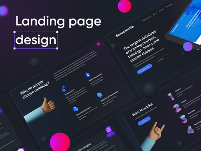 Landing page design uidesign courses website product webdesig geometic color abstract uiux balls dark hands 3d landing page