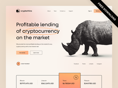Cryptocurrency lending service animals rhino uiux uidesign minimal money finance bitcoin crypto wallet crypto exchange binance crypto coin lending cryptocurrency landing page webdesig