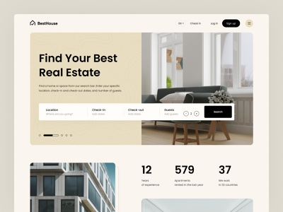 Real Estate Landing Page clean webdesign landing page website ui ux uidesign rent house home real estate agency rental property property management real estate