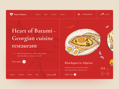 Georgian food restaurant concept landing page website uidesign uiux heart red trend illustration order chef food and drink eat food delivery food service service yummy georgia food restaurant