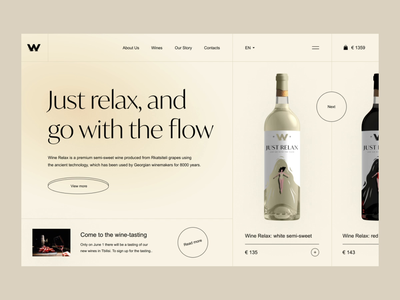 Wine shop Just relax landing page website uidesign uiux white restaurant food clean wineshop winery drink wine bottle motion graphics animation