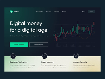 Tether cryptocurrency concepte website lending uidesign uiux green chart tether token binance crypto wallet finance crypto coin trade crypto exchange exchange cryptocurrency bitcoin trend dark