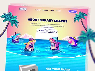 Shkary Sharks - NFT Landing Page shark matamask platform crypto web defi cryptodesign cryptocoin blockchain animation landing page token solana ethereum nfts nft art nft crypto art cryptocurrency
