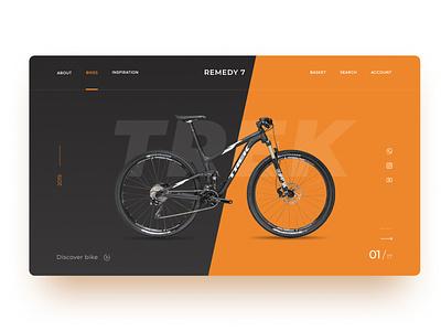 Bike concept designer trek bike uiuxdesign ux ui figma e-commerce concept landing website webdesign design