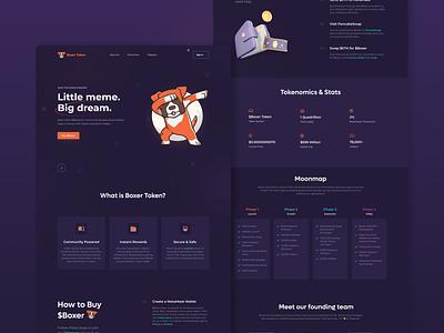 Boxer Token - Little meme, Big dream motion graphics graphic design 3d landingpage website fintech crypto ux vector logo ui app minimal illustration design branding animation