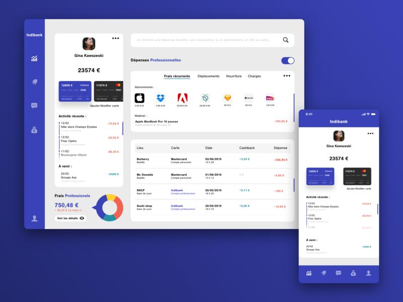 Indibank - Banking app for freelancers ux colors type branding font color uxui design bankingapp product fintech ui